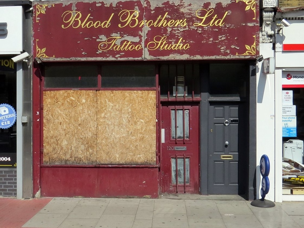 Blood Brothers derelict tattoo studio on Holloway Rd