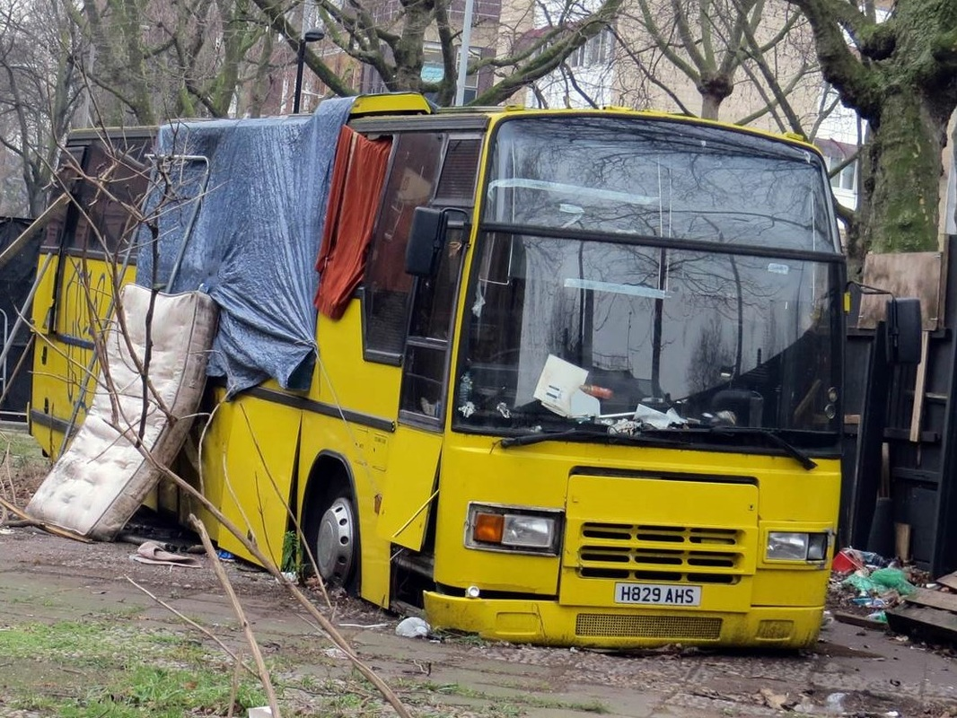 picture of abandoned wreck of a coach in London, SE1