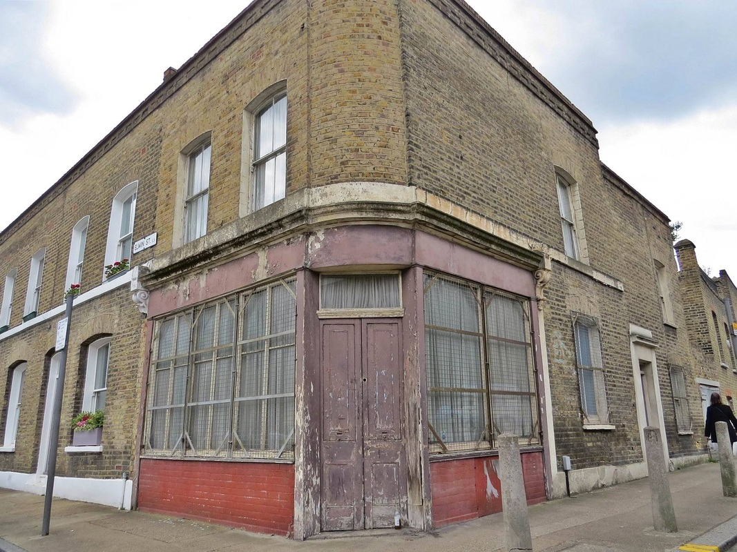 Derelict corner shop in Bethnal Green, London, E2