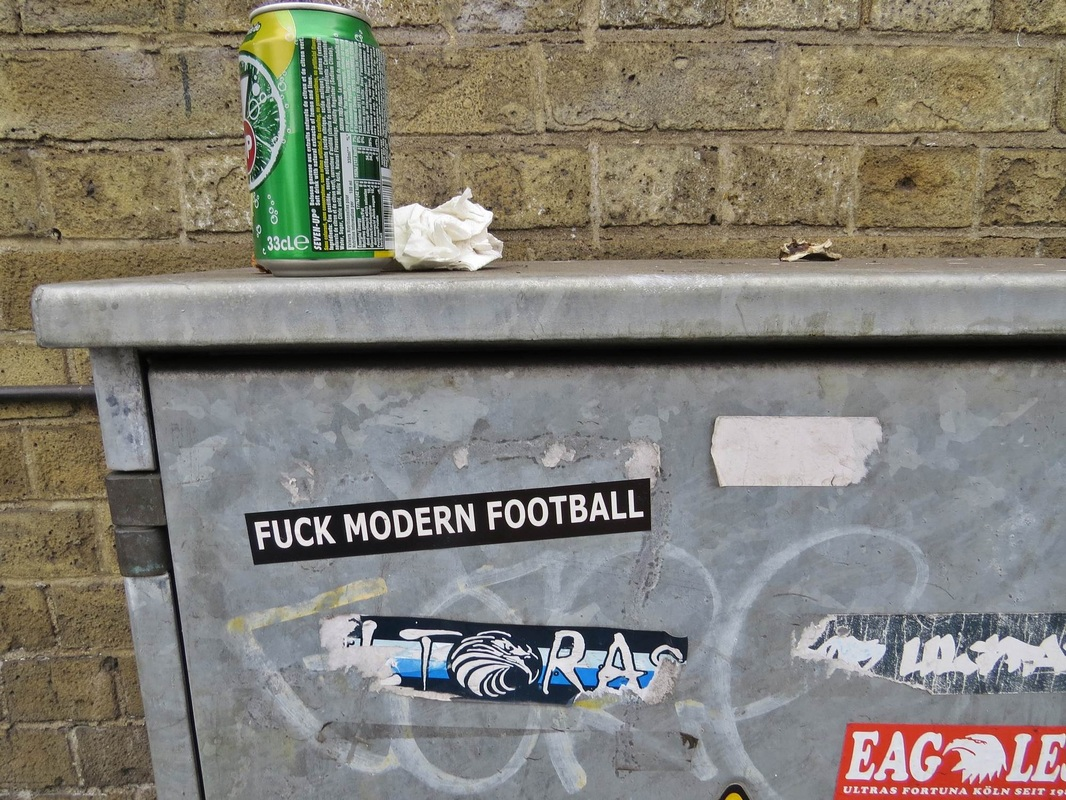 Fuck Modern Football sticker in South Norwood, SE25 near Crystal Palace's Selhurst park Ground