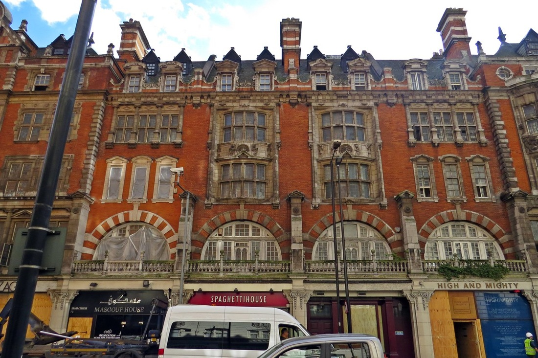 Picture of derelict Knightsbridge. The listed façade of the building in red brick and stone dressing and the roof overlap with chimneys is to be retained