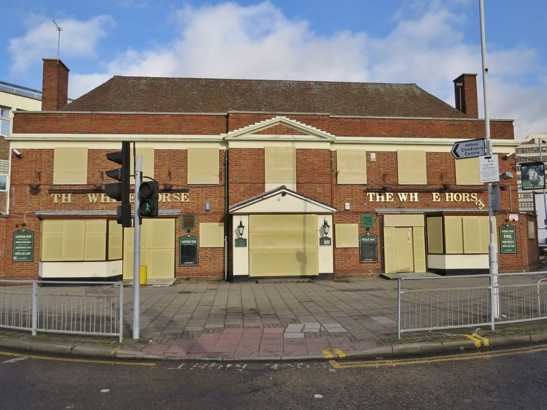 The derelict White Horse pub in Barking