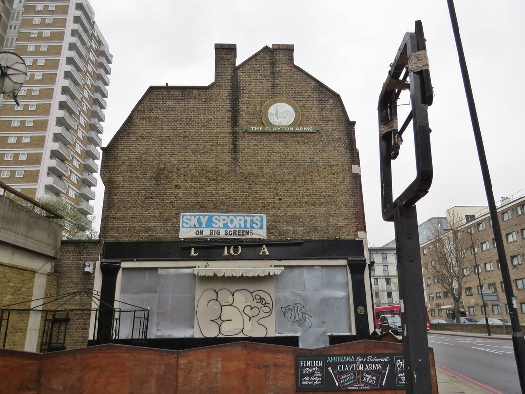 The derelict Clayton Arms pub in Peckham, South London. Another abandoned boozer or