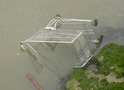 submerged shopping trolley on the River Thames in Belvedere