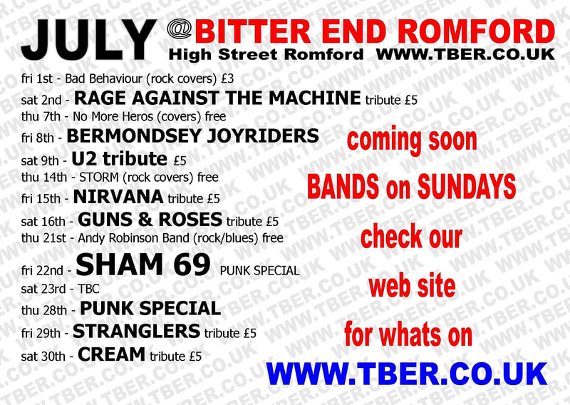 Live music flyer for The Bitter End in Romford