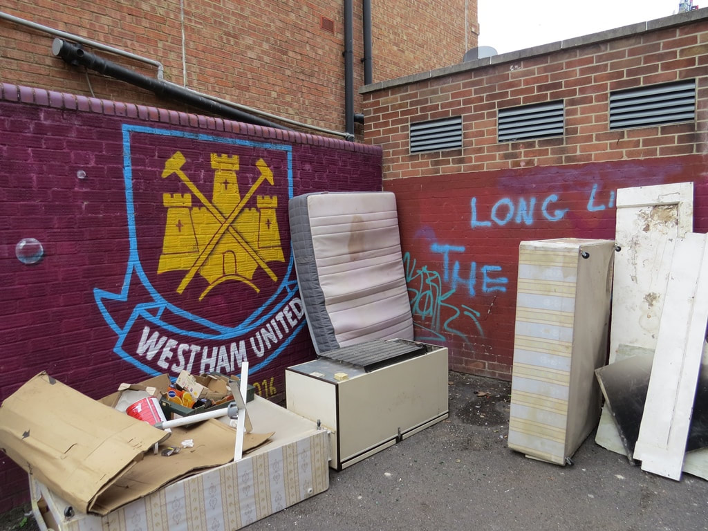 Flytipping of mattresses near West Ham United's old ground in Upton Park, East London