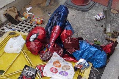 Abandoned deflated Spiderman toy in East London