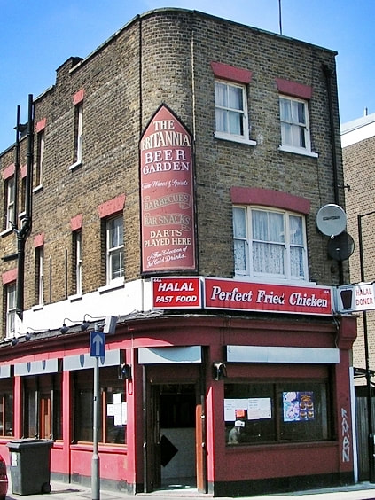 The Britannia in Shadwell is now a chicken shop. As seen on Paul Talling's Derelcit London walking tour of lost pubs of Shadwell and Stepney