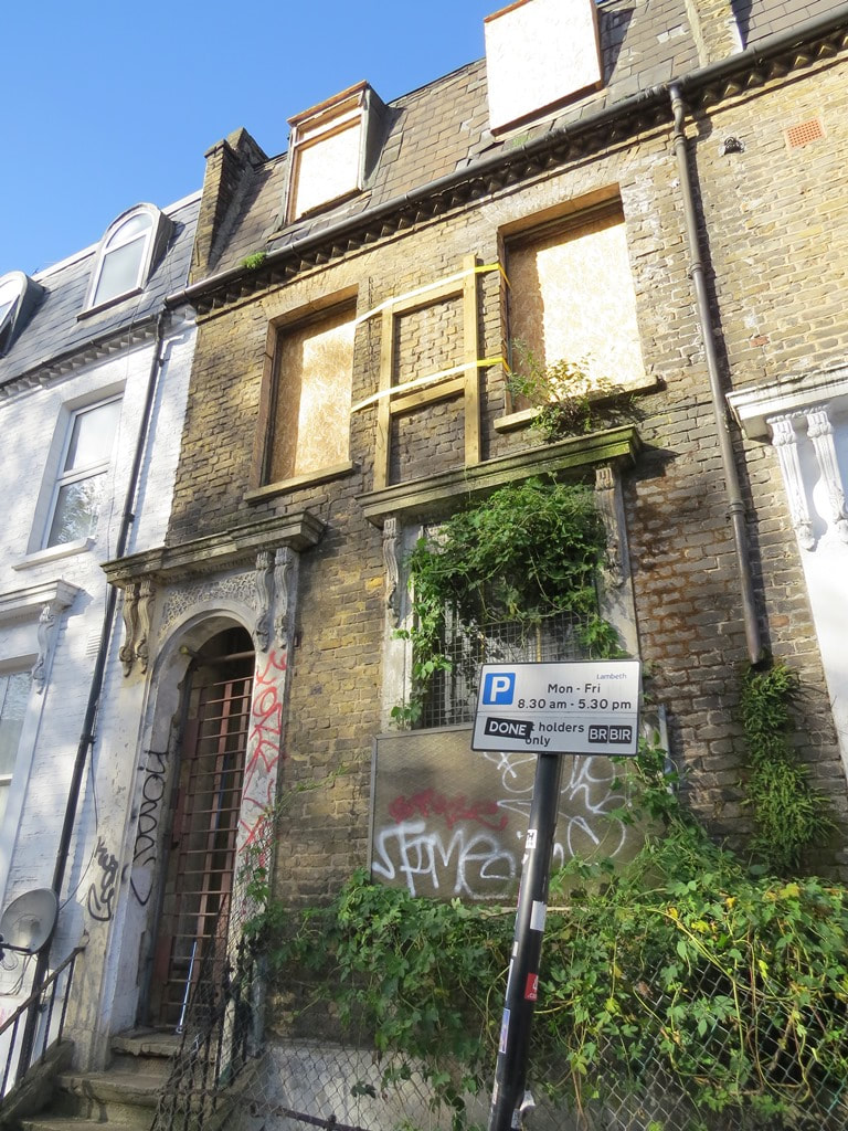 Picture of derelict house in Brixton South London sold at auction