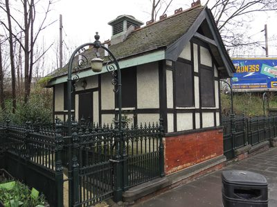Grade 2 listed disused and derelict public toilets in Bruce Grove, Tottenham, N17