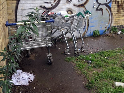 shopping trolleys abandoned by the Canning Town Flyover by Bow Creek