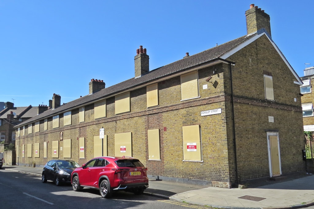 Abandoned residential properties in Horsley Street and Queen's Row, Walworth in South London
