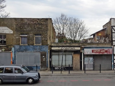 Limehouse, E14 derelict shops on  Commercial Road in the East End of London