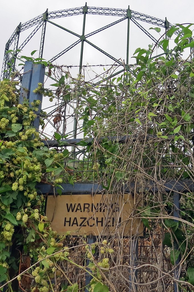 Warning Hazchem sign on industrial site in Dartford Kent on derelict London walking tour with Paul Talling