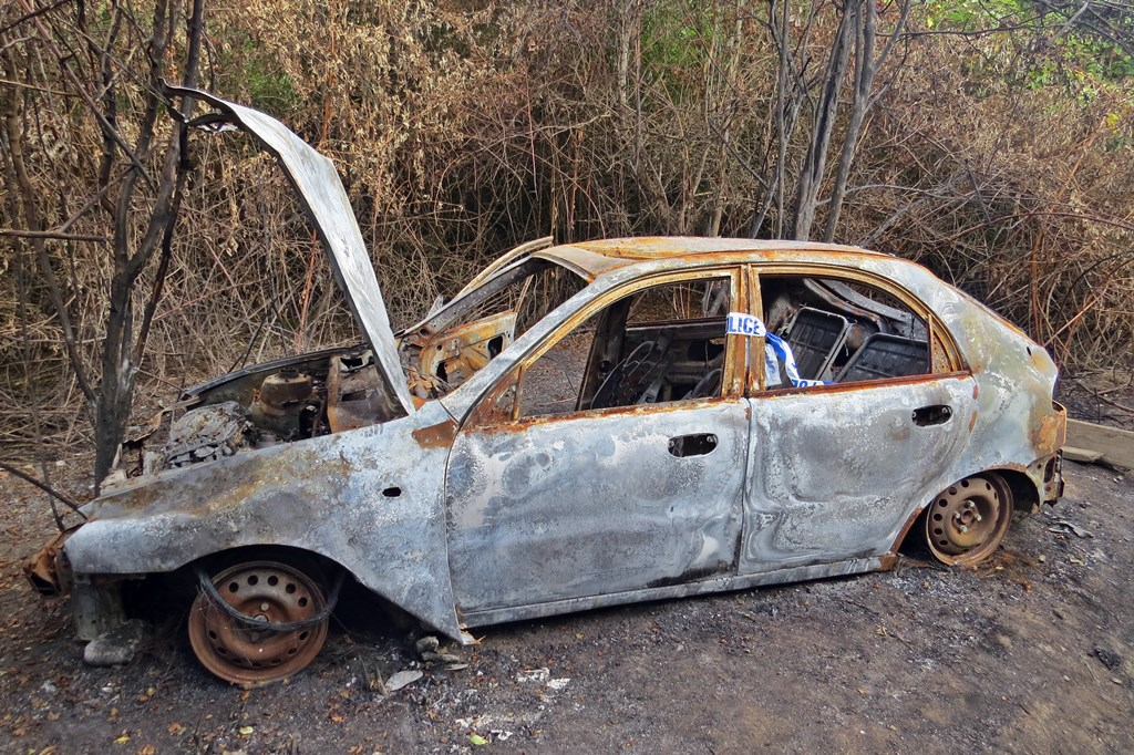 burnt out stolen car in Joyce Green Lane in Dartford not far from the Thames