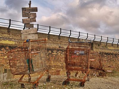 Dead rusty shopping trolleys salvaged from the river in London