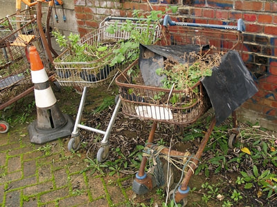 rusty redundant supermarket shopping trolleys in South London