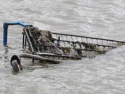supermarket shopping trolley disposed of in the Thames in South London