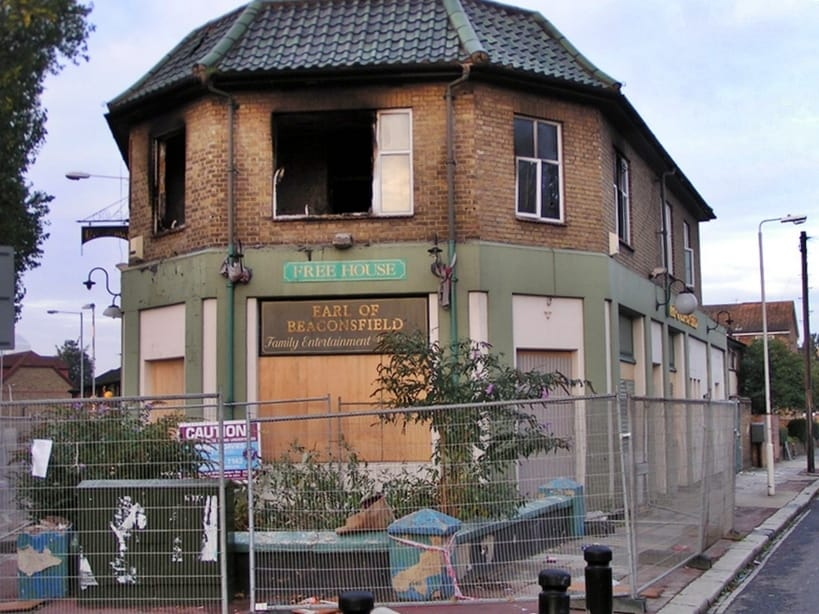Closed down and derelict Earl Of Beaconsfield in Plaistow