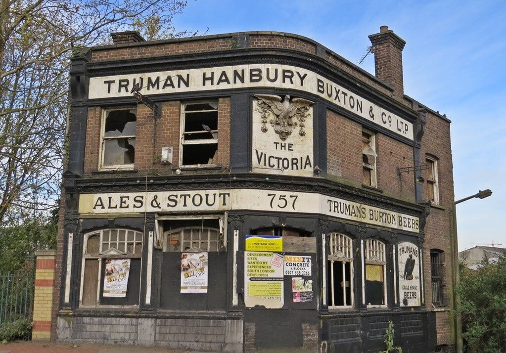 The Victoria pub, a derelict landmark along the route of the London Marathon in Charlton