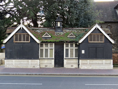 SE9 Eltham disused public toilets by St Johns Church on Well Hall Road