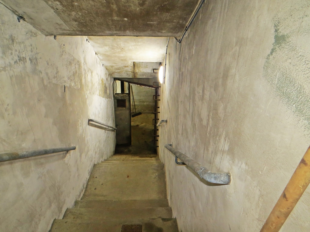 Concrete steps beneath Urdang Academy in London leads to a Cold War Defence shelter