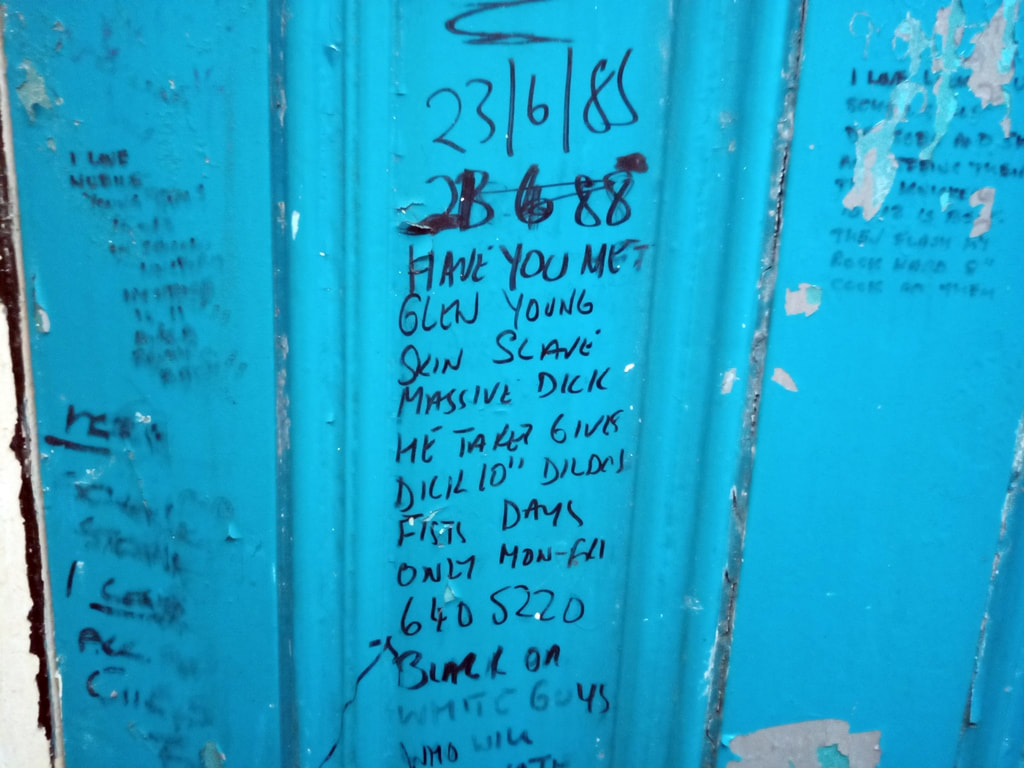 The cubicle doors of these derelict public toilets show some interesting 1980s graffiti