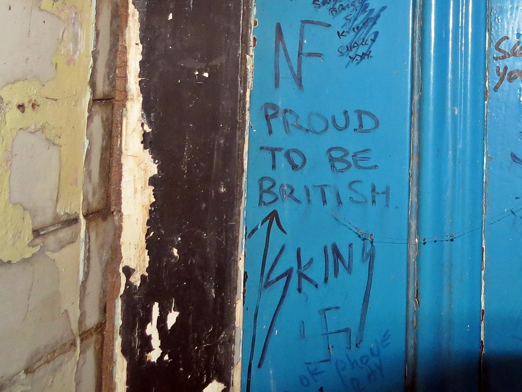 1980s National Front and skinhead graffiti in London public toilets