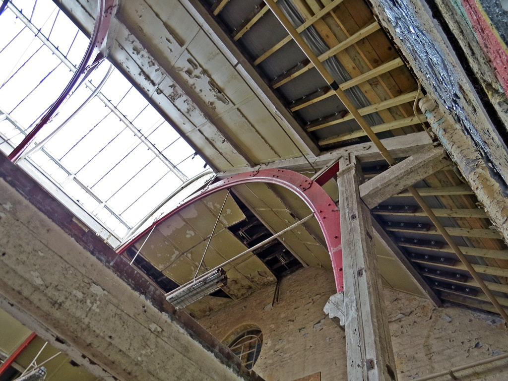barrel vaulted roof of the derelict Ladywell Baths another one of London's lost swimming pools