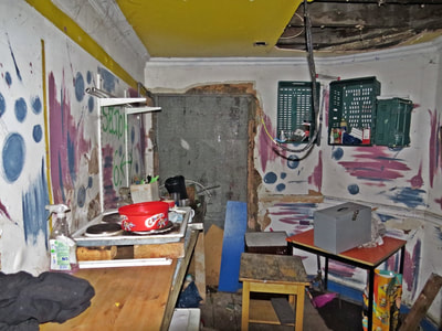 Inside of derelict shops in Limehouse, East London