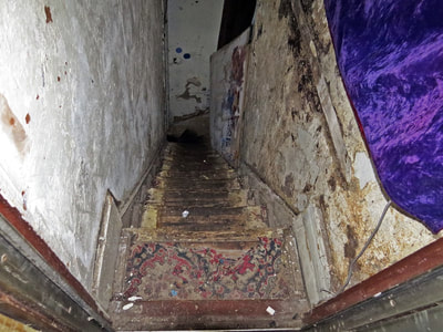 Dangerous staircase in abandoned building in East London