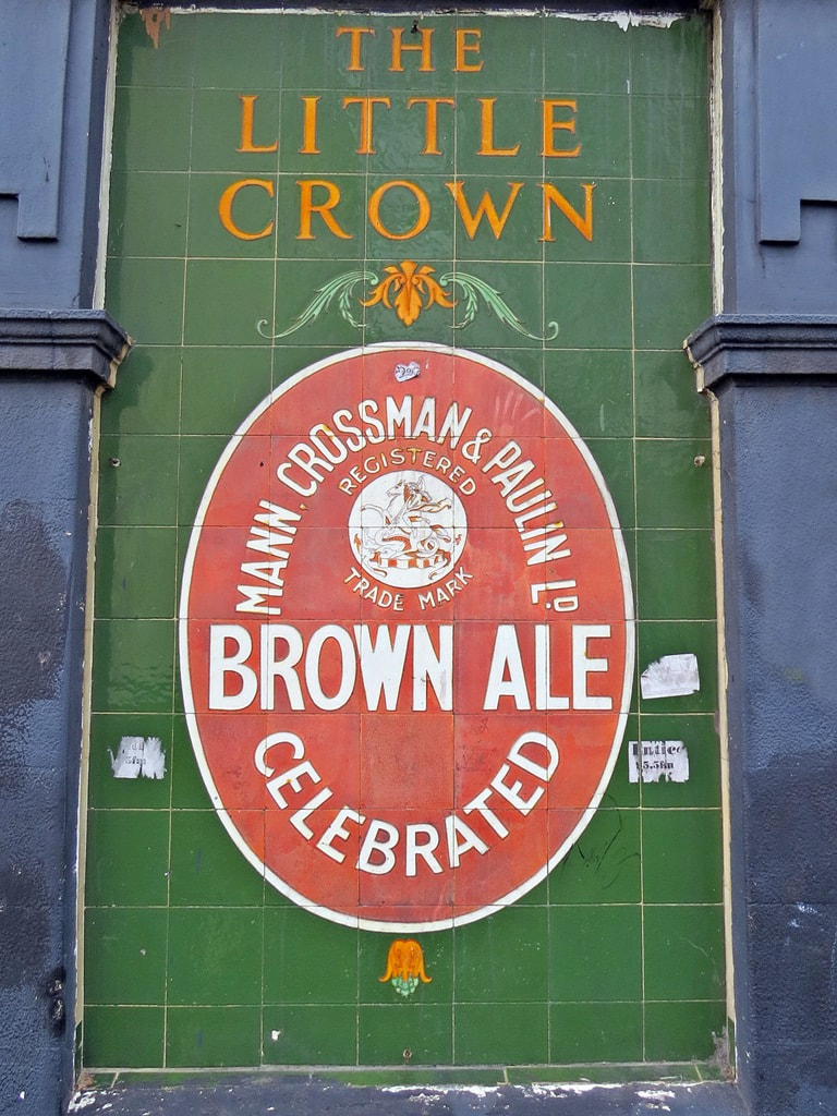 Mann Crossman & Paulin celebrated brown ale tiling at the closed down Little Crown in Rotherhithe,SE16.