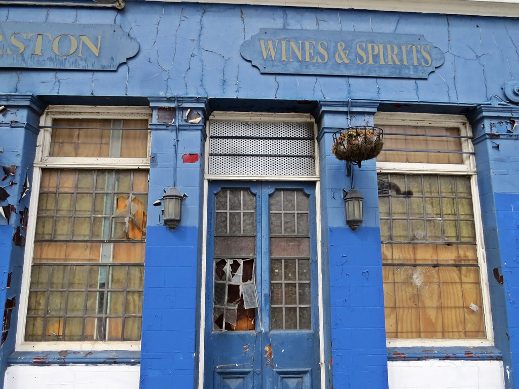 Wines and Spirits sign on abandoned Lord Palmerston pub in South London