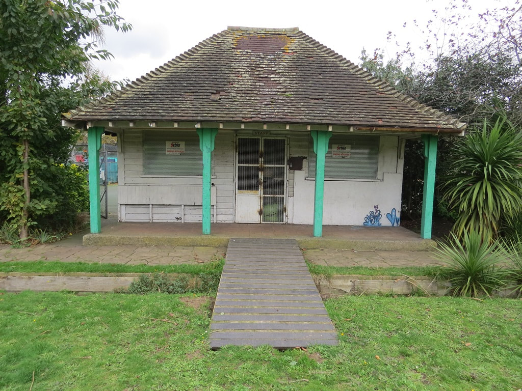 Derelict hut on disused bowling green in one of Derelict London's Lost Sports Grounds