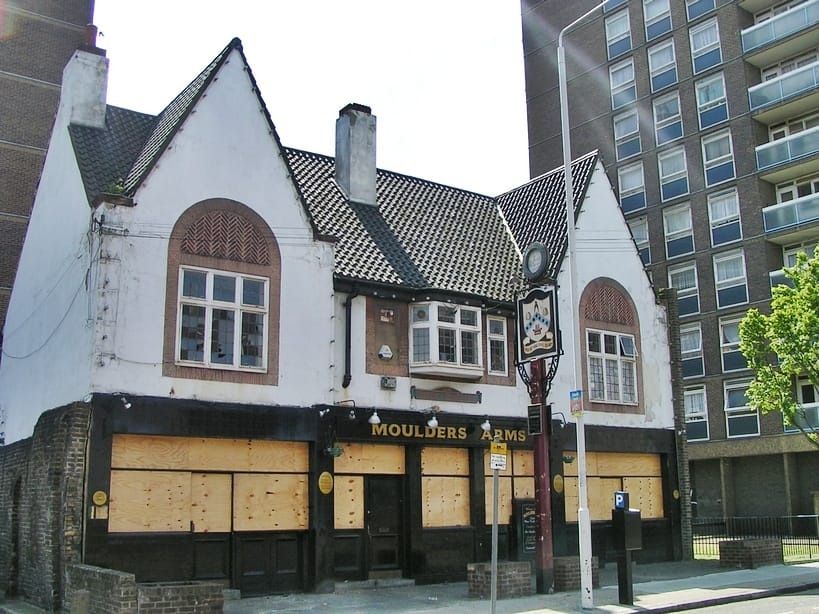 Closed down Moulders Arms pub in Bromley-by-Bow on the High Street now replaced by flats
