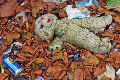 unloved abandoned teddy bear in Peckham, South London