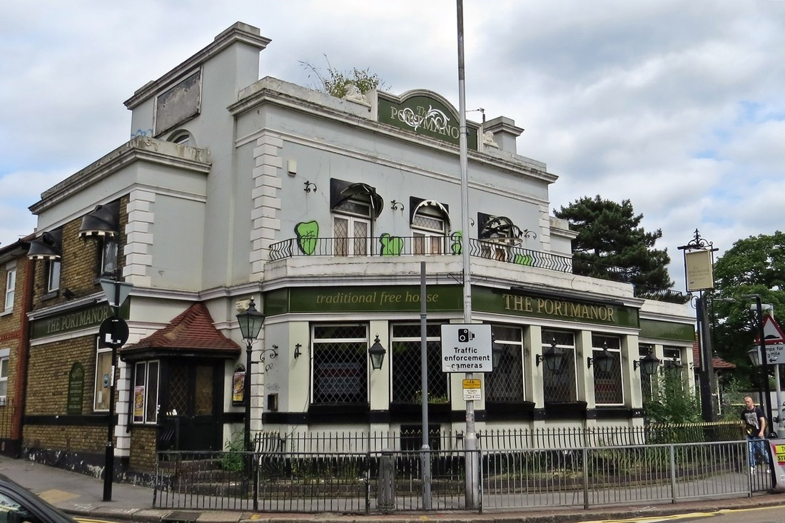 Picture of the derelict Portmanor pub in South Norwood. the pub was frequented by Crystal Palace supporters including the Holmesdale Fanatics