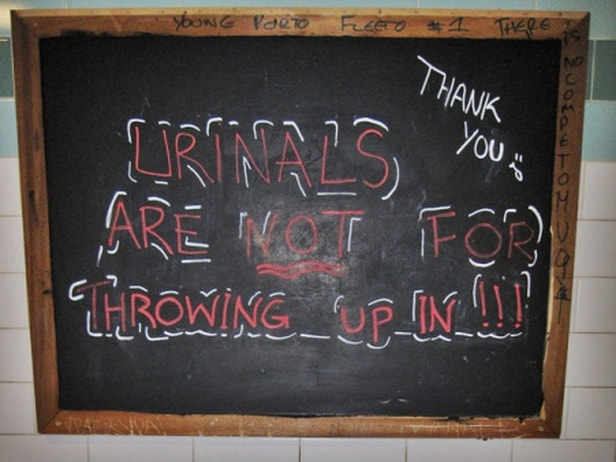 urinals are not for throwing up in!!! Wandsworth pub toilet