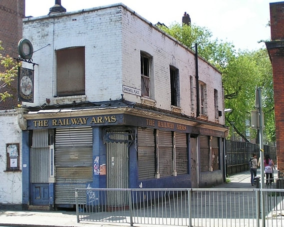 The derelict Railway Arms in Shadwell E1 now demolished