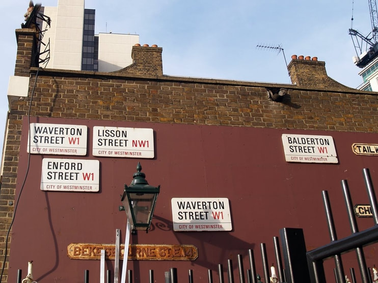 London streetsigns for sale at Lassco at Brunswick House in Vauxhall