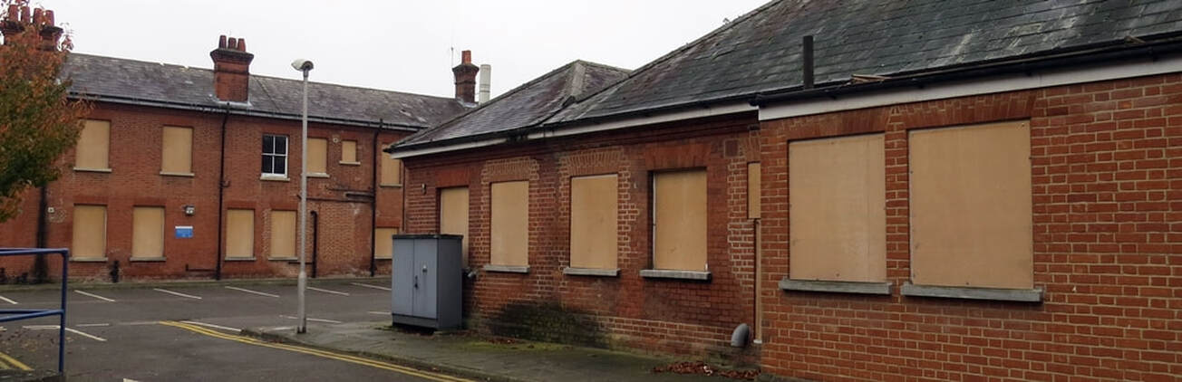 Picture of vacant and derelict buildings at Barnes Hospital in East Sheen