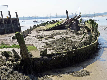 shipwreck on the River Thames at Grays Beach. The Gull Lightship in 2018