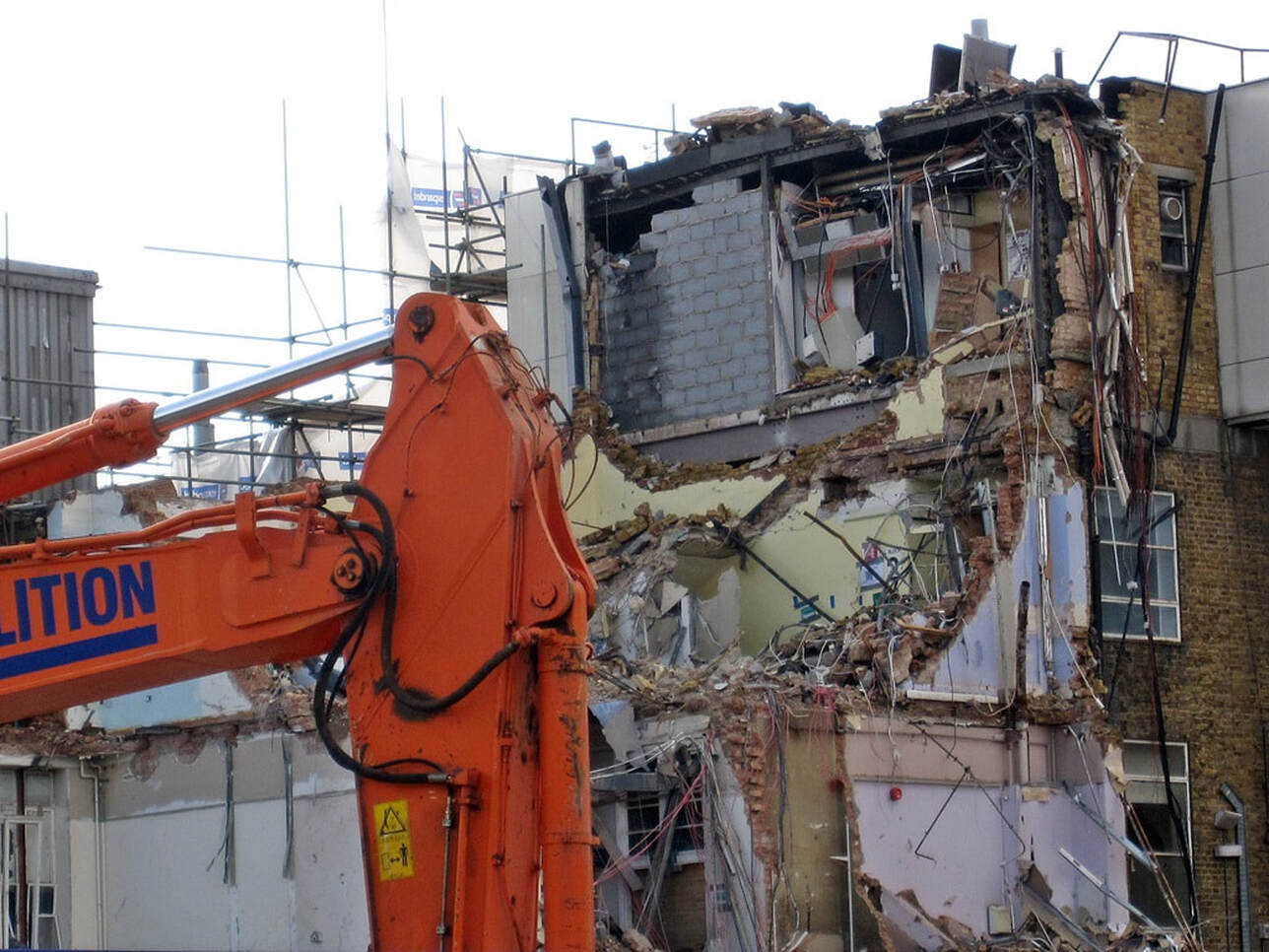 Picture of demolition at Hammersmith Hospital next to Wormwood Scrubs