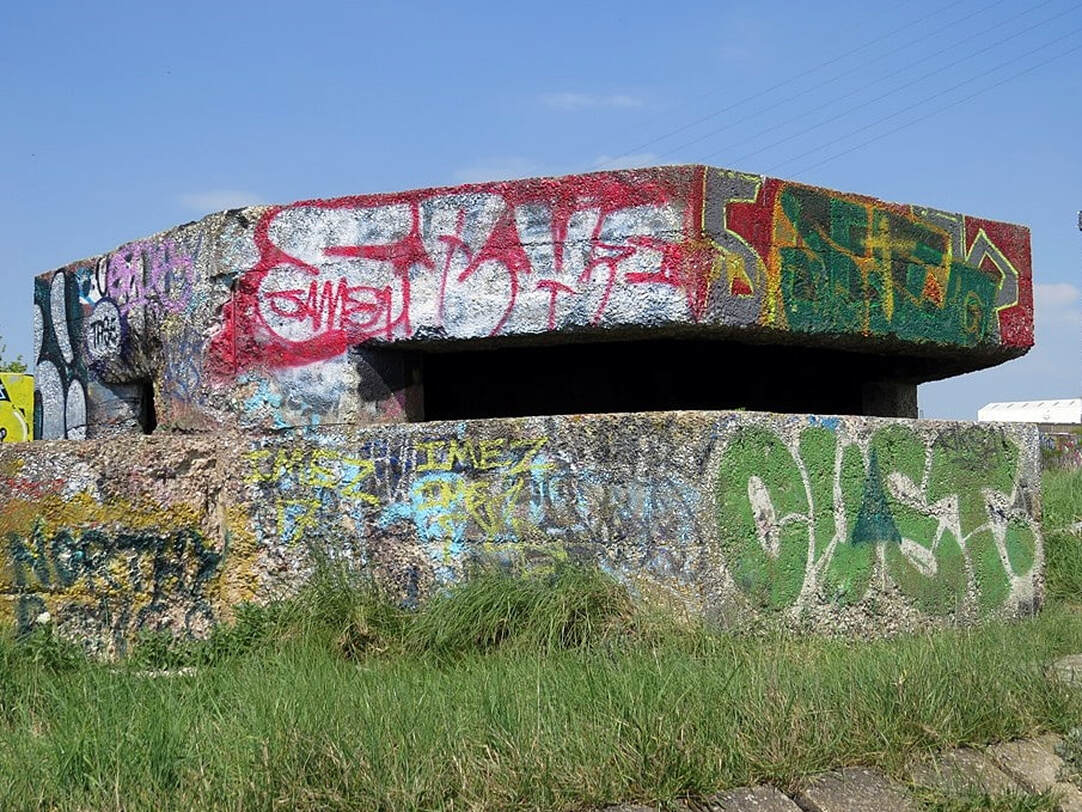 During World War II, these small concrete forts/bunkers were used for the defence against a possible enemy invasion.