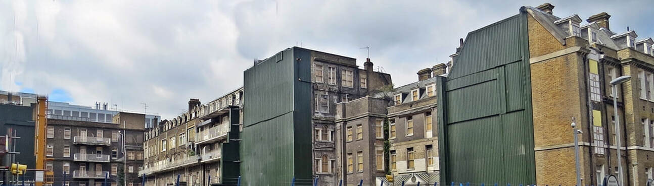 Picture of  rear of derelict vacant parts of  Royal London Hospital in Whitechapel, London, E1