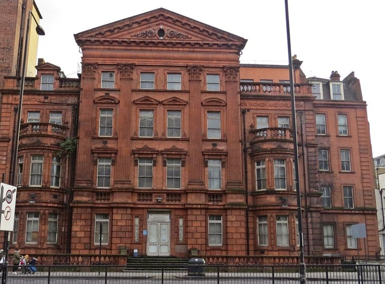 Red brick and terracotta empty Samaritan Hospital for Women Marylebone Road, NW1  still owned by the NHS