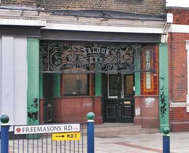 The closed down and now demolished Barge pub on Freemasons Rd opposite the Excel Centre