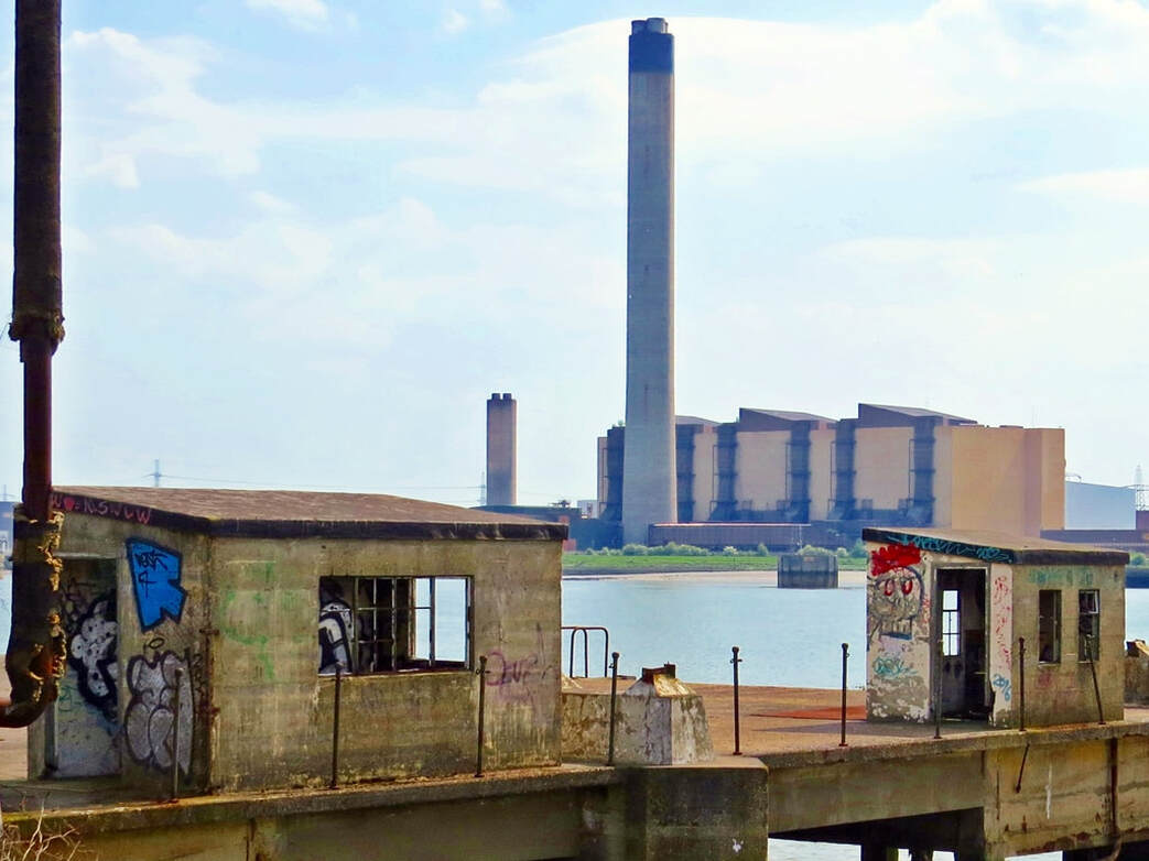 Abandoned Jetty in Purfleet with the Redundant Littlebrook Power Station, Dartford across the Thames