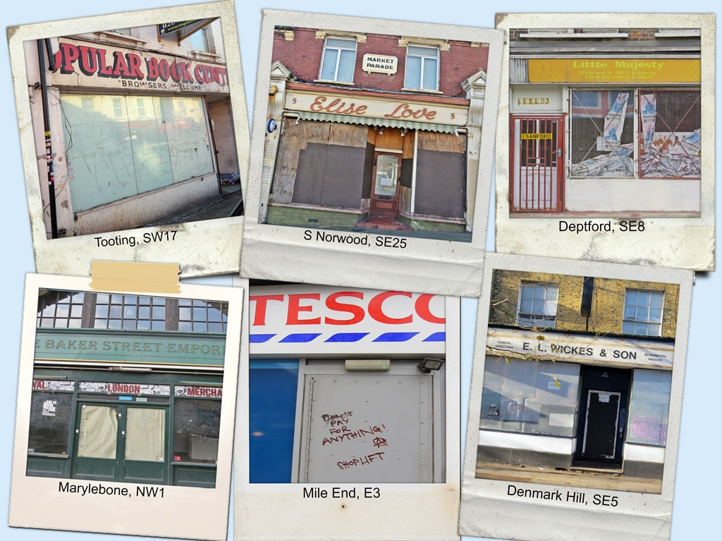 Collage Picture of derelict London shopfronts