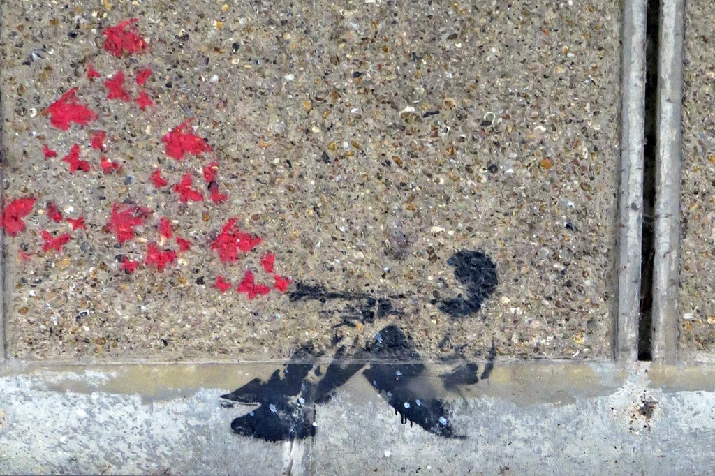 Streetart hearts on concrete in Thamesmead South London Se2